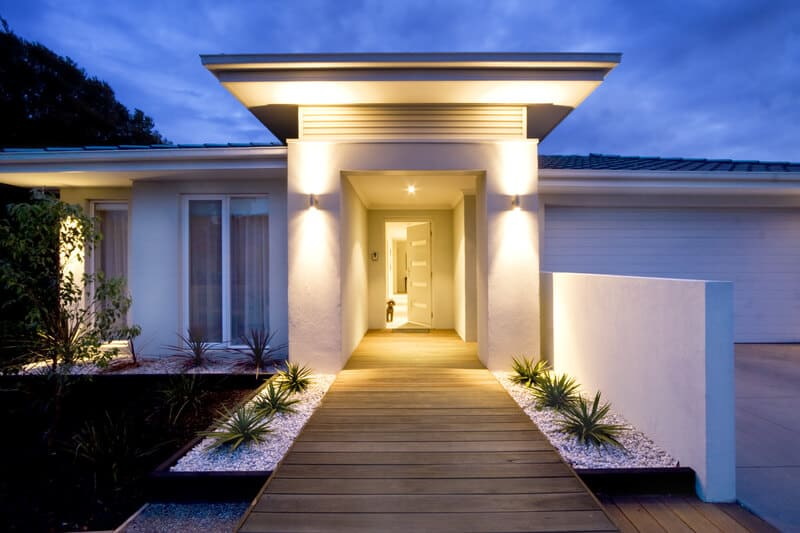 Front Entry And Deck Of A Contemporary New Home In Australia