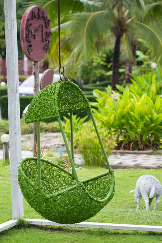 Green Hanging Chair in the garden.