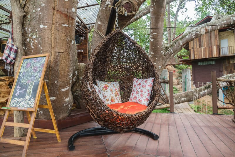 Swing seat in the garden on a casual day.