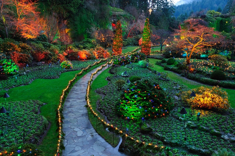 Beautiful garden night lighting scene in butchart gardens, victoria, british columbia, canada.