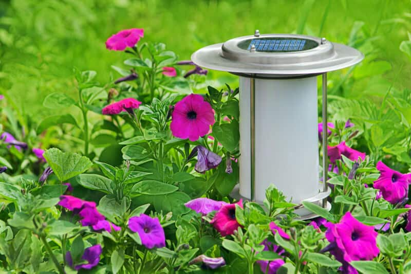 Solar powered lamp in fine garden.