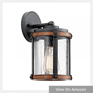 Kichler Lighting Barrington Distressed Black and Wood Outdoor Wall Light