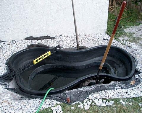 Preformed pond hole for Preformed pond