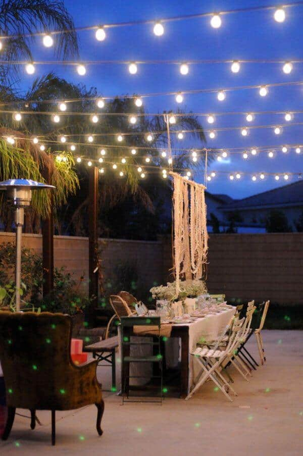 "<img src=""http://yardsurfer.com/wp-content/uploads/2010/05/String-lighting-backyard-ideas.jpg"" alt=""String backyard lighting allows users to decorate places of the yard that are not usually covered with lights. Examples include patio awnings, gazebos, windows, doorways and more. String lights look a lot like Christmas light strings except that they come in many themes and styles."