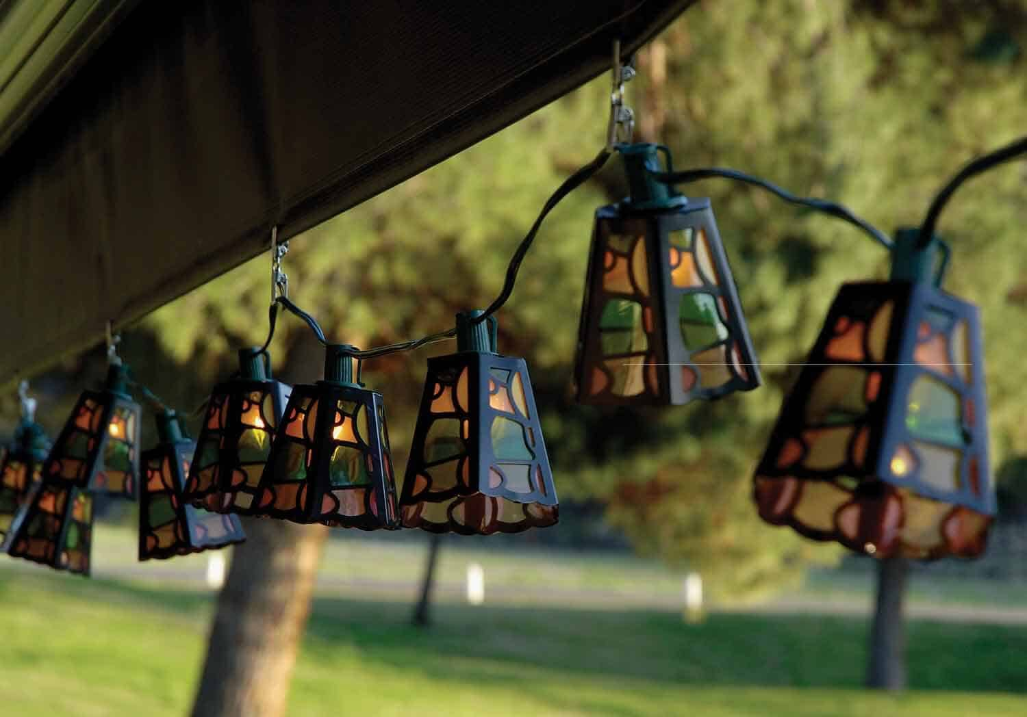 Patio string lights car interior design for Terrace lighting