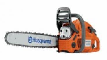 A gasoline powered Husqvarna chainsaw.