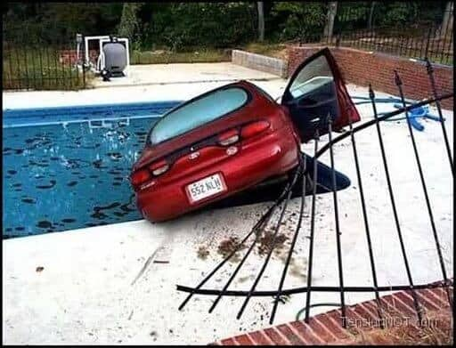 Car Crashes Into Swimming Pool, What Next?