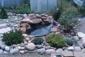 Preformed pond waterfalls