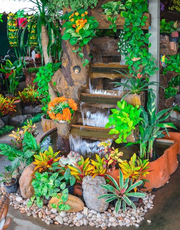 Decorative outdoor garden water fountains.