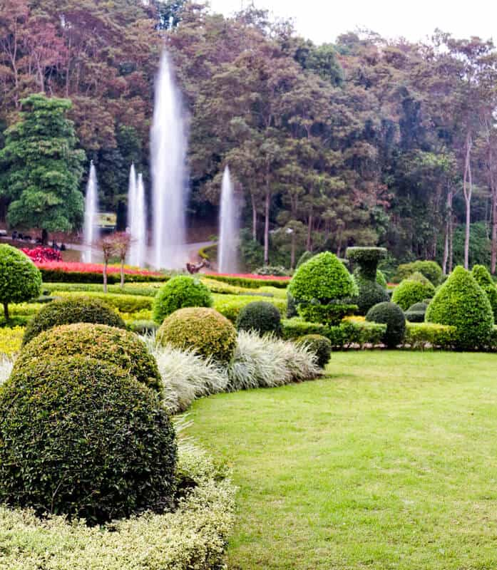 Design flowery Landscape beautiful garden. Consider adding assorted sizes of pointed and round shrubbery to your area for a more regal look.