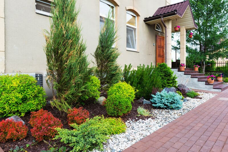 Natural Flower Landscaping In Home Garden This Front Yard Has Numerous Beautiful Bushes And Shrubs