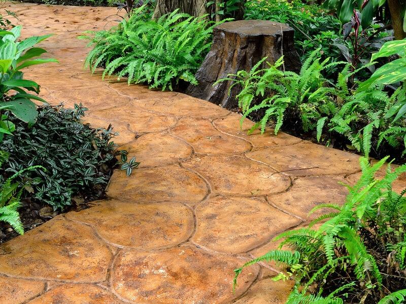 Stone walkway in garden, Thailand.