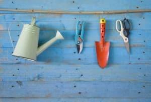 Garden tools, watering can, scissor,shovel, free copy space