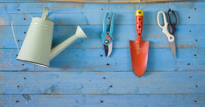Garden tools, watering can, scissor,shovel, free copy space