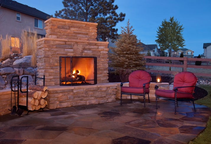 backyard fireplace