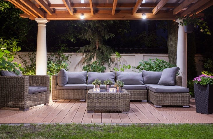 modern patio at night