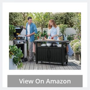 Outdoor Entertainment BBQ Storage Table_Prep Station_Serving Cart with Metal Top