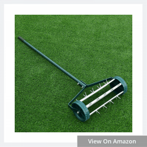 The Rolling Lawn Aerator 18-inch Garden Yard Rotary Push Tine Heavy Duty Spike Soil Aeration