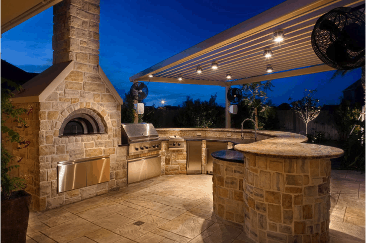 beautiful outdoor kitchen night