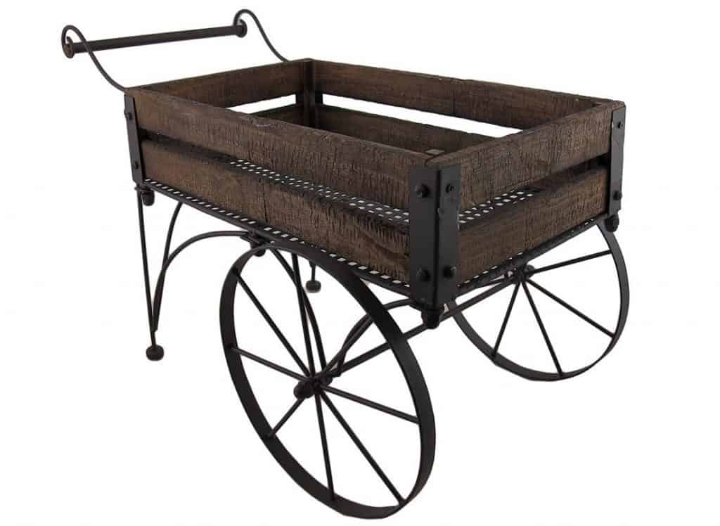 rustic wood and metal 2 wheeled wagon cart