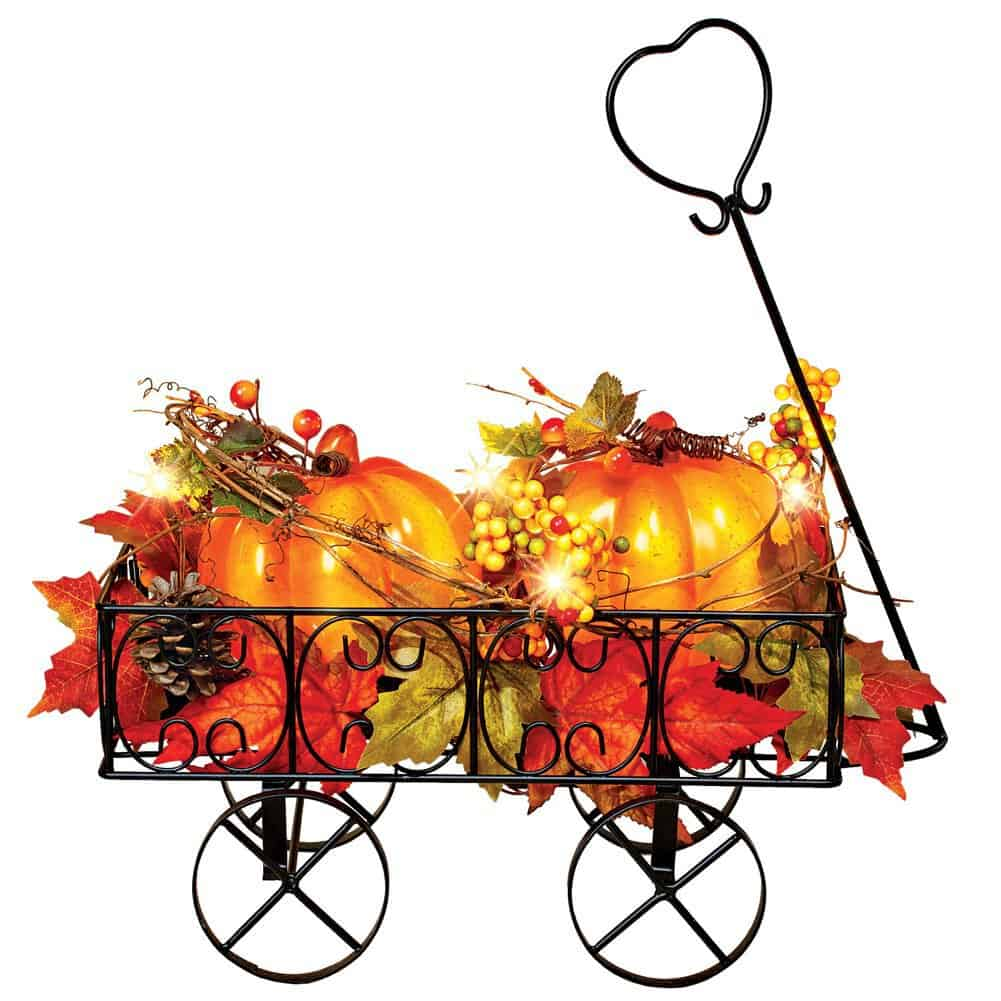 lighted metal pumpkin wagon