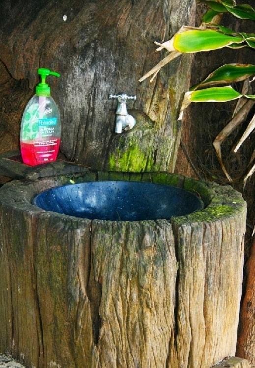 Tree Stump Outdoor Sink