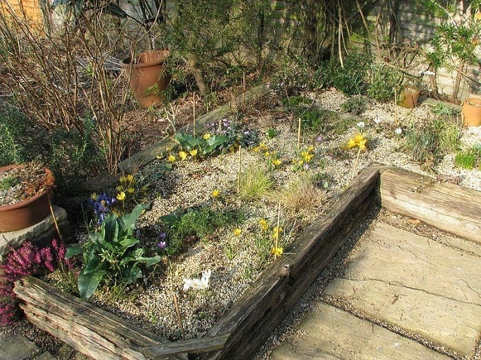 A Sunny Raised Garden Bed with Old Wood
