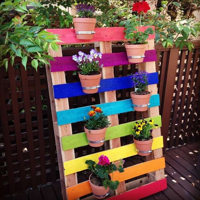 DIY Upcycled Rainbow Pallet Garden Planter